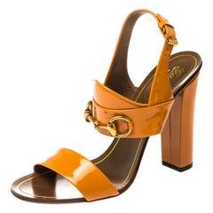 Gucci Caramel Patent Leather Alyssa Horsebit Ankle Strap Sandals Size 39