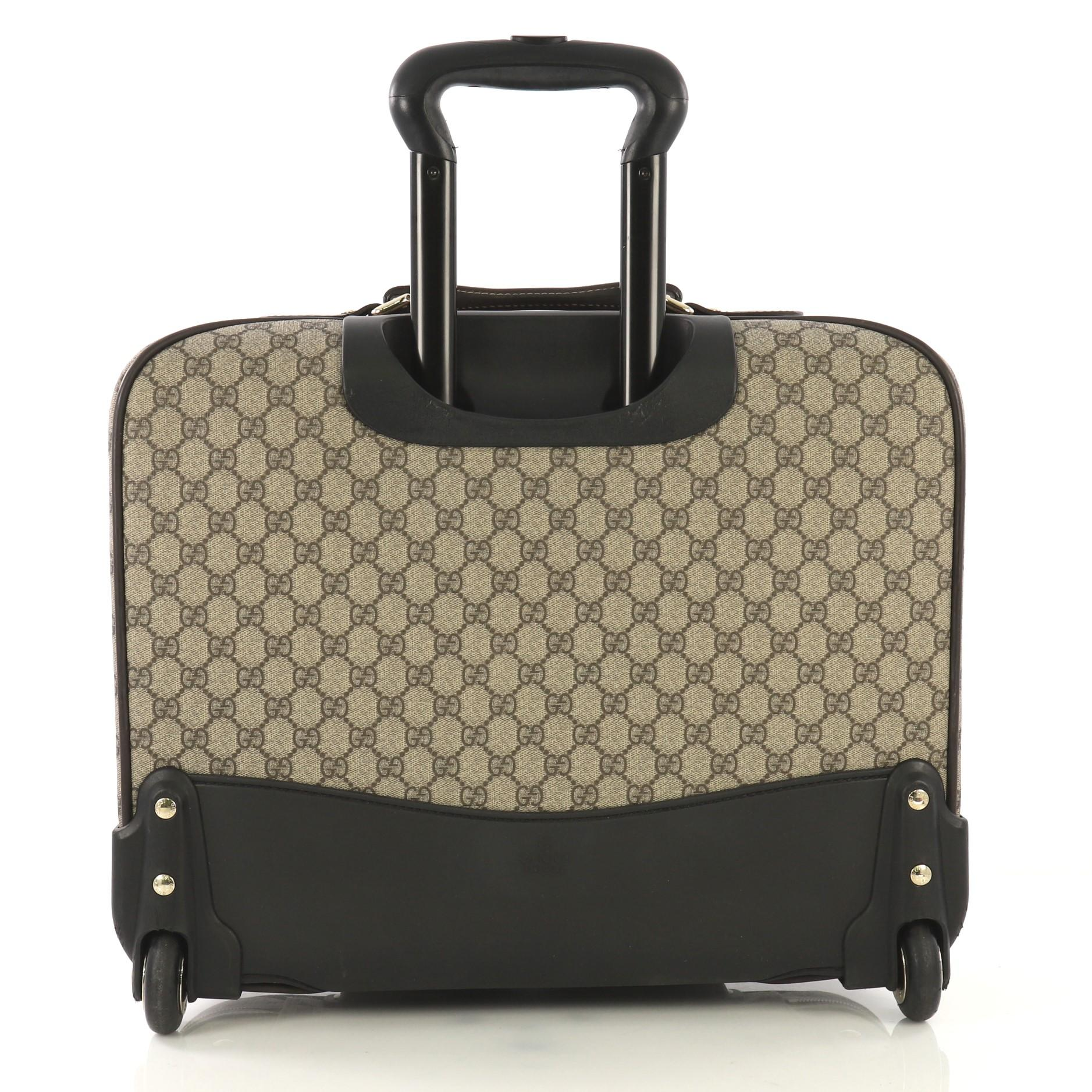 4f1326810 Gucci Carry On Trolley Rolling Luggage GG Coated Canvas With Leather at  1stdibs