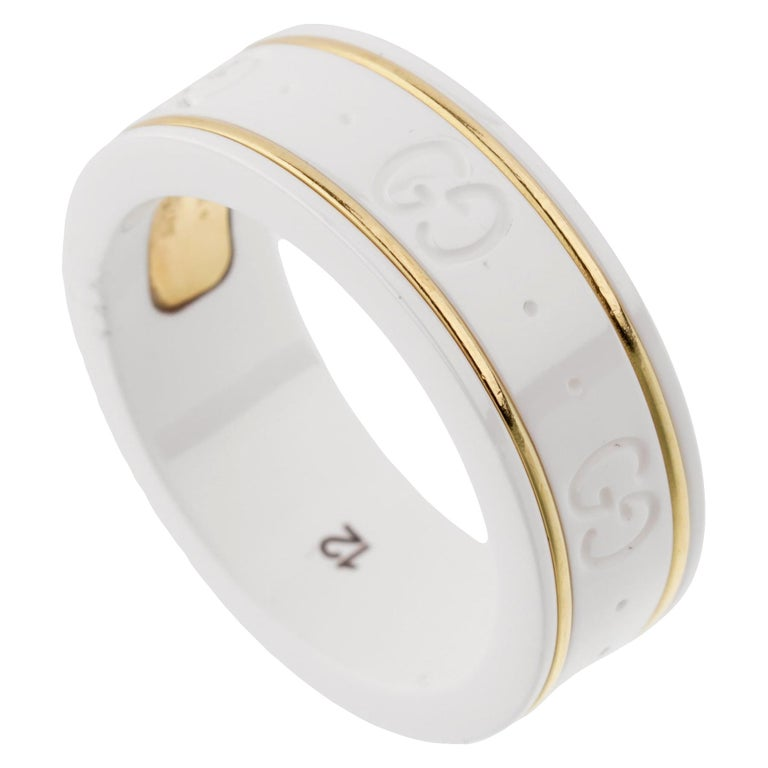Gucci Ceramic Yellow Gold Band Ring For Sale