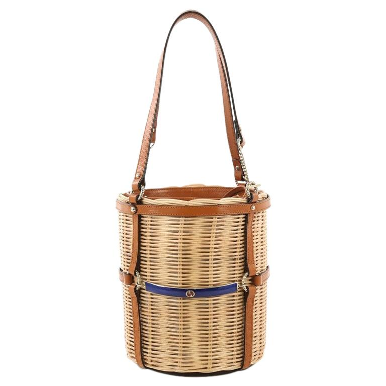ae45524e0 Gucci Cestino Bucket Bag Wicker Small For Sale at 1stdibs