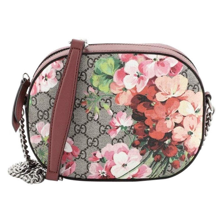 Gucci Chain Crossbody Bag Blooms Print GG Coated Canvas Mini For Sale
