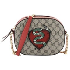 Gucci Chain Crossbody Bag Embroidered GG Coated Canvas Mini
