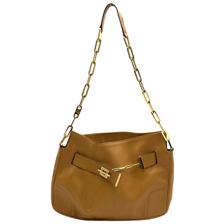 Gucci Chain Link Tan Leather Shoulder Bag For Sale
