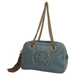 GUCCI chain tote shoulder Tassel Womens tote bag 308983 blue