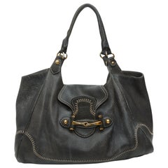 Gucci Charcoal Leather Horsebit Handbag