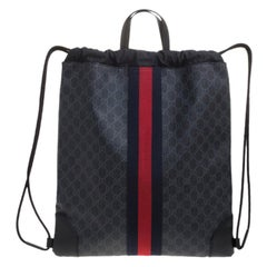 Gucci Charcoal Soft GG Supreme Canvas Drawstring Backpack