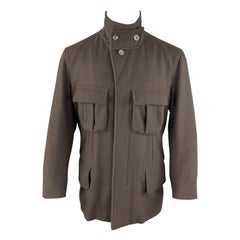 GUCCI Chest Size 38 Brown Wool Peak Lapel Hidden Buttons Back Pockets Jacket