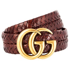 GUCCI chestnut brown leather BRAIDED GG BUCKLE BELT 80