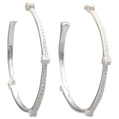 Gucci Chiodo Diamond and 18 Karat White Gold Hoops Earrings