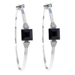 Gucci Chiodo Onyx Diamond 18K White Gold Hoop Earrings