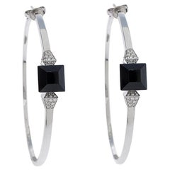 Gucci Chiodo Onyx Diamond 18K White Gold Hoop Earrings