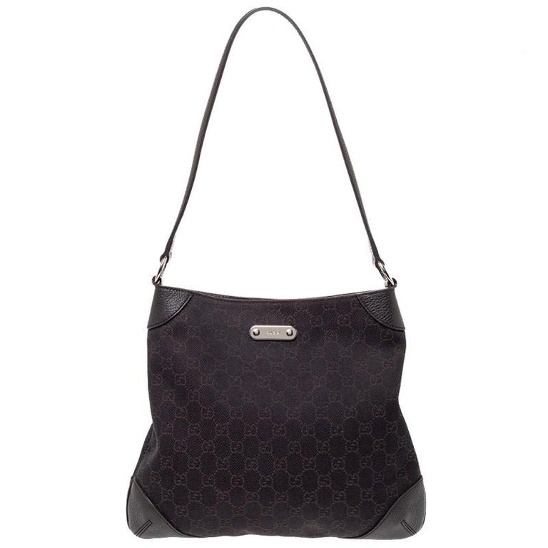 Black Gucci Chocolate Brown GG Canvas and Leather Vintage Hobo For Sale