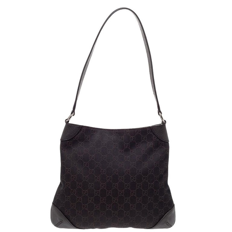 Gucci Chocolate Brown GG Canvas and Leather Vintage Hobo In Good Condition For Sale In Dubai, Al Qouz 2