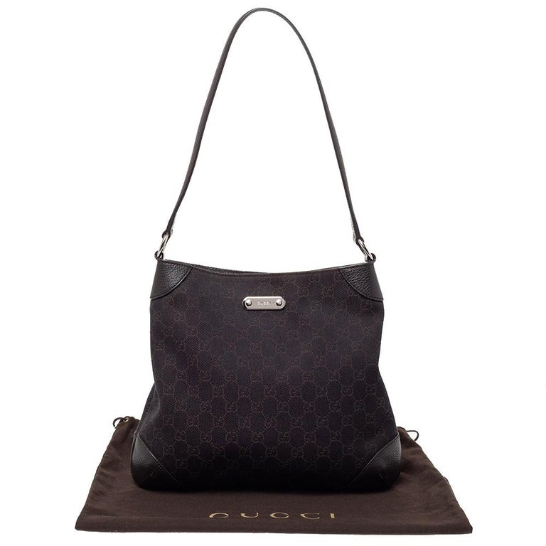Gucci Chocolate Brown GG Canvas and Leather Vintage Hobo For Sale 4