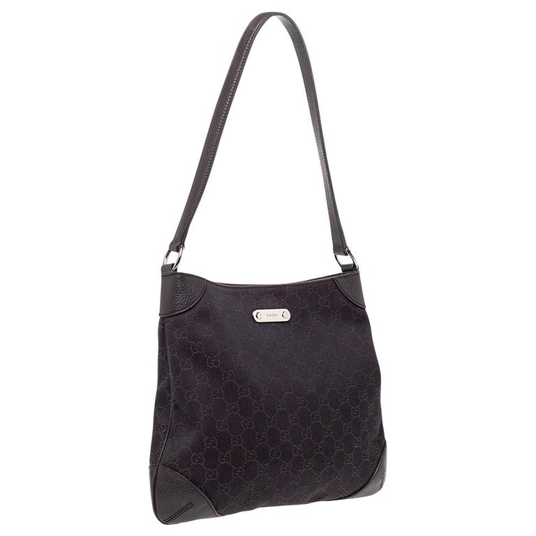 Gucci Chocolate Brown GG Canvas and Leather Vintage Hobo For Sale