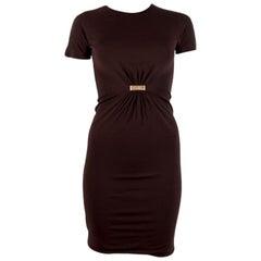 GUCCI chocolate brown jersey Short Sleeve Dress XS