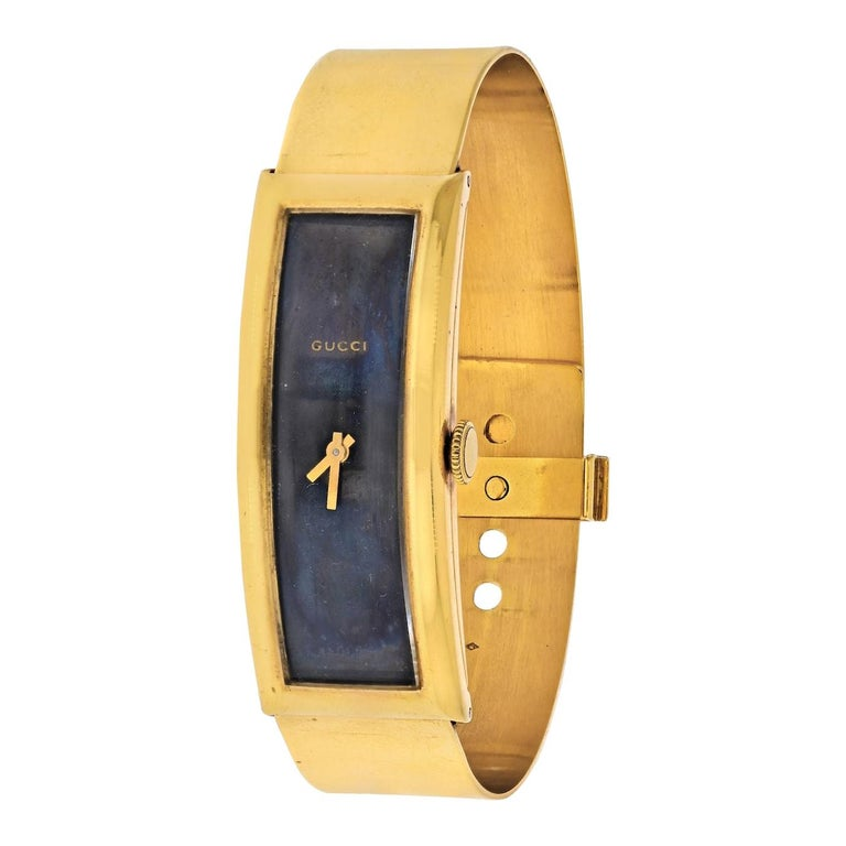 Gucci circa 1970s 18 Karat Yellow Gold Vintage Rectangular Watch
