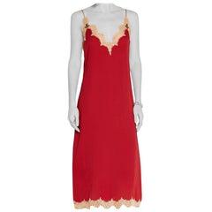 Gucci Claret Lace-trimmed silk midi dress 36