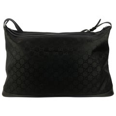 Gucci Classic Soft Black GG Logo Duffle Bag with Strap