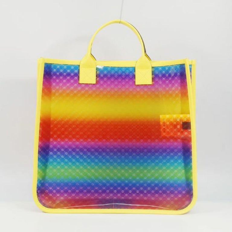Brown GUCCI clear tote GG Rainbow Womens tote bag 550763 yellow x Rainbow For Sale