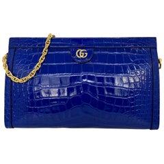 Gucci Cobalt Ophedia Crocodile Shoulder Crossbody Bag