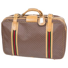 Gucci Coffee Brown GG Supreme Coated Canvas Travel Suitcase
