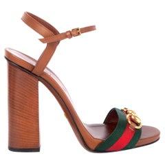 GUCCI cognac brown leather LIFFORD HORSEBIT WEB Sandals Shoes 38