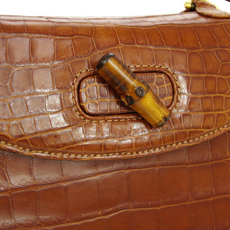 Crocodile Leather Bamboo Gold tone hardware Made in Italy Handle drop 4.75