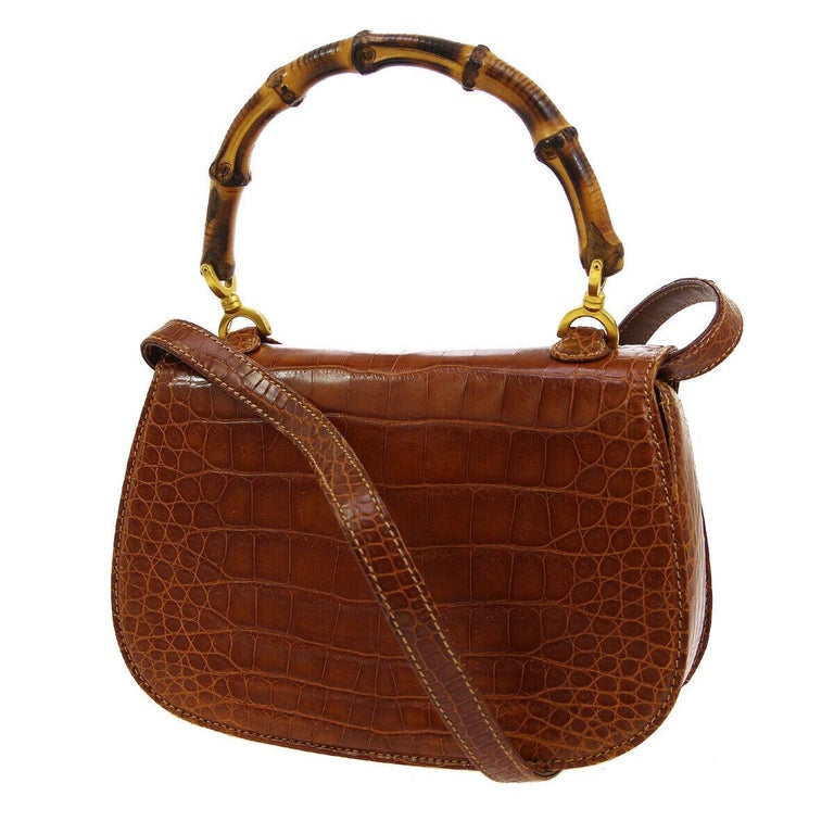 Gucci Cognac Crocodile Exotic Bamboo Kelly Top Handle Evening Shoulder Bag  In Good Condition For Sale In Chicago, IL