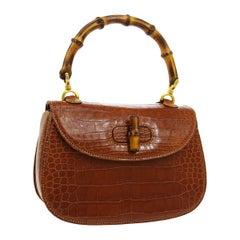 Gucci Cognac Crocodile Exotic Bamboo Kelly Top Handle Evening Shoulder Bag