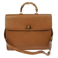 Gucci Cognac Leather Bamboo Business Men's Briefcase Top Handle Shoulder Bag