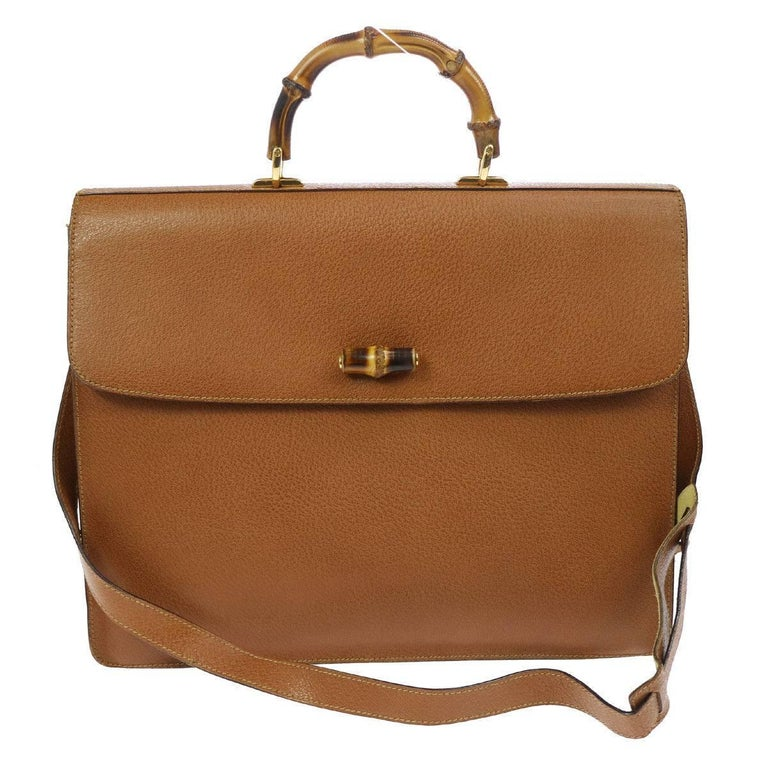 Gucci Cognac Leather Bamboo Business Men's Briefcase Top Handle Shoulder Bag