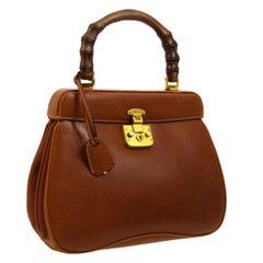 Gucci Cognac Leather Bamboo Gold Kelly Top Handle Evening Shoulder Bag