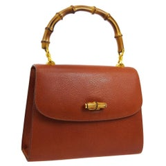 Gucci Cognac Leather Bamboo Kelly Top Handle Evening Shoulder Bag