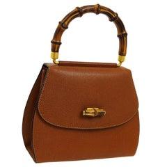 Gucci Cognac Leather Bamboo Mini Kelly Top Handle Satchel Evening Shoulder Bag