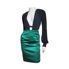 Gucci Color Block Plunge and Cut out Back Silk Dress