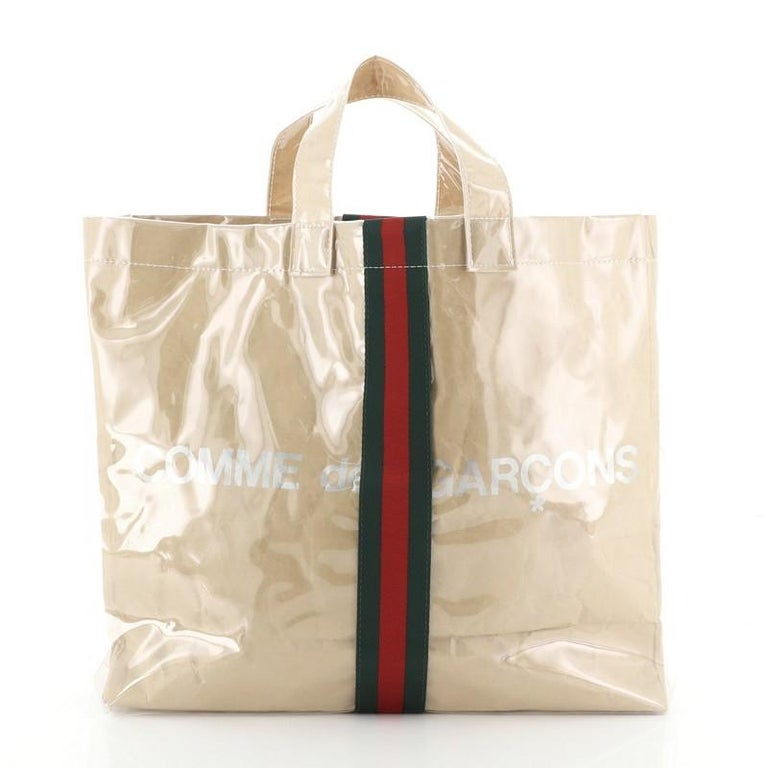 Gucci Comme de Garcons Web Shopping Tote PVC and Paper Large In Good Condition For Sale In New York, NY