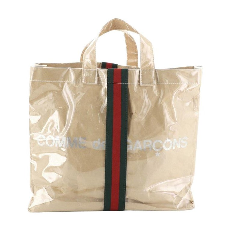 Gucci Comme de Garcons Web Shopping Tote PVC and Paper Large For Sale