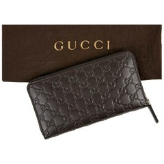 Gucci Companion Logo Brown Embossed Leather