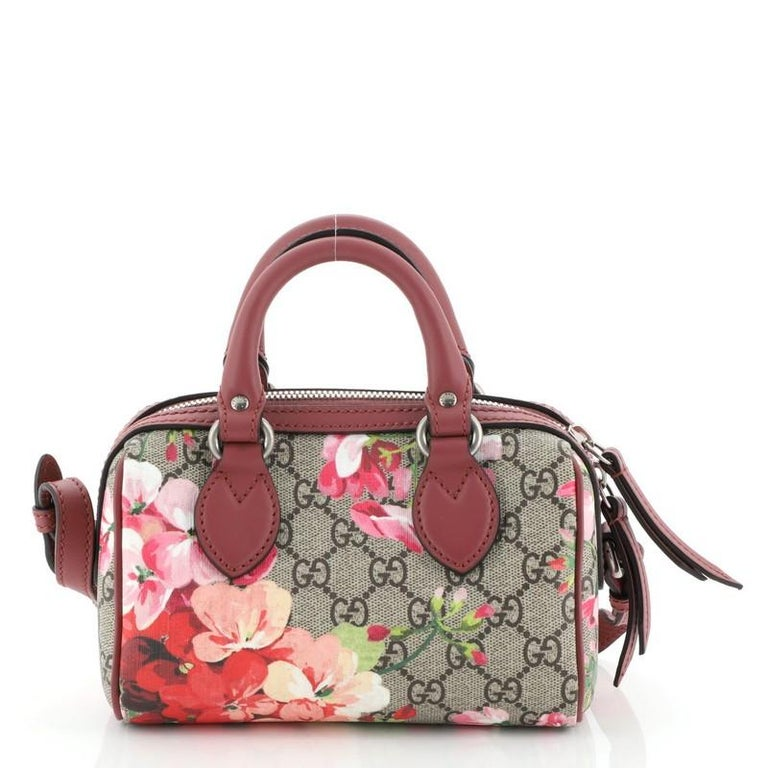 Gucci Convertible Boston Bag Blooms Print GG Coated Canvas Nano In Good Condition For Sale In New York, NY