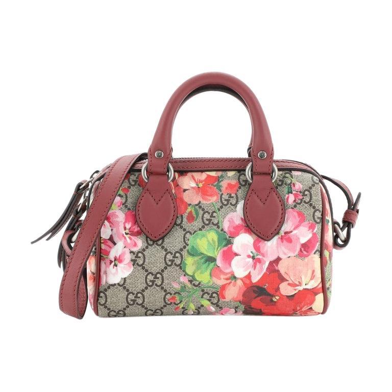 Gucci Convertible Boston Bag Blooms Print GG Coated Canvas Nano For Sale