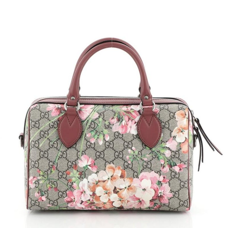 Gucci Convertible Boston Bag Blooms Print GG Coated Canvas Small In Good Condition For Sale In New York, NY