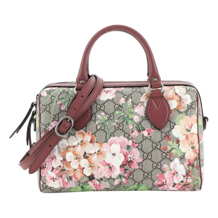 Gucci Convertible Boston Bag Blooms Print GG Coated Canvas Small For Sale