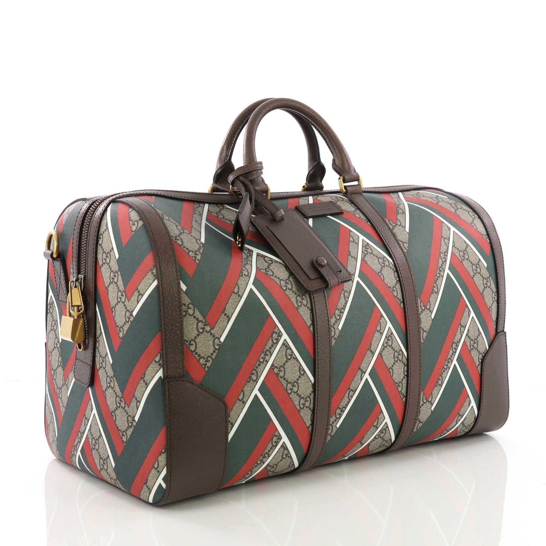 7e1ccf3fc9b8 Gucci Convertible Duffle Bag Printed GG Coated Canvas Medium at 1stdibs