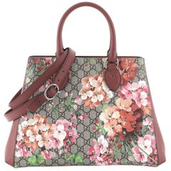 Gucci Convertible Shopping Tote Blooms Print GG Coated Canvas Large