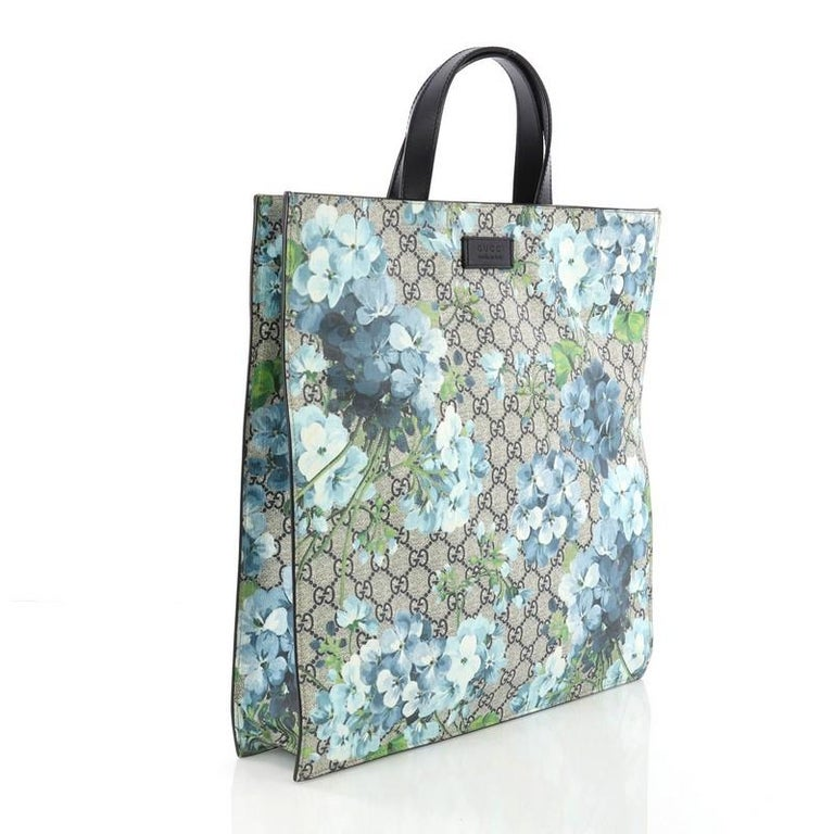 0c59dac57 Gray Gucci Convertible Soft Open Tote Blooms Print GG Coated Canvas Tall  For Sale