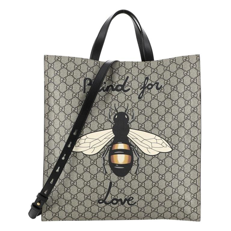 Gucci Convertible Soft Open Tote Printed GG Coated Canvas Tall For Sale