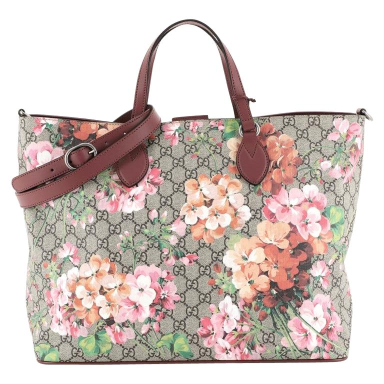 Gucci Convertible Soft Tote Blooms Print GG Coated Canvas Medium For Sale