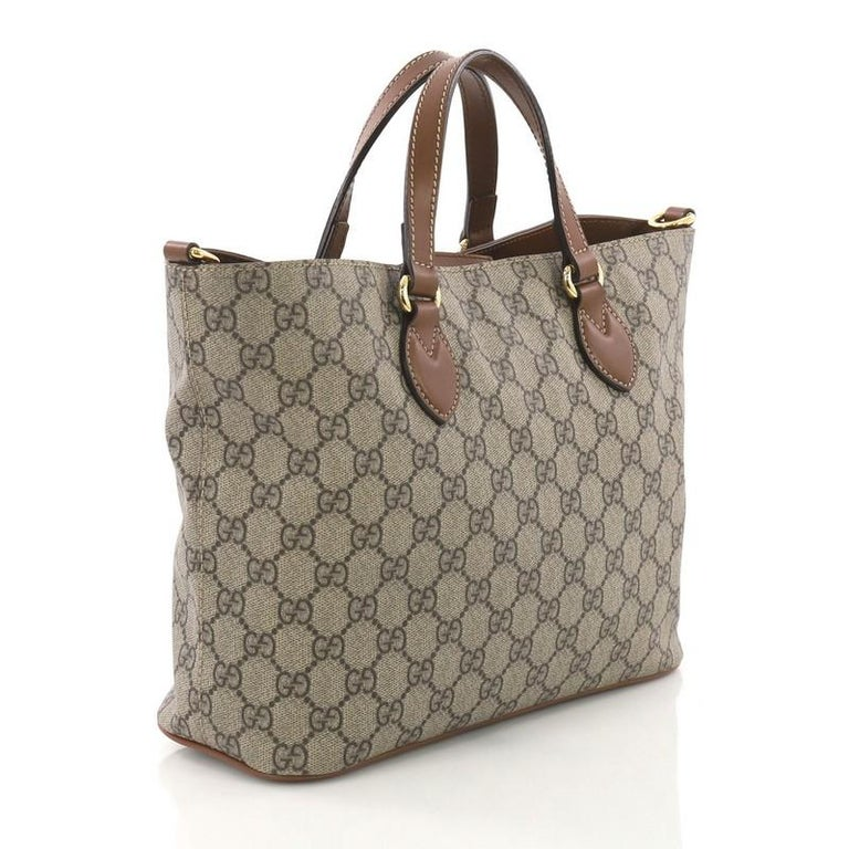Gray Gucci Convertible Soft Tote GG Coated Canvas Small For Sale