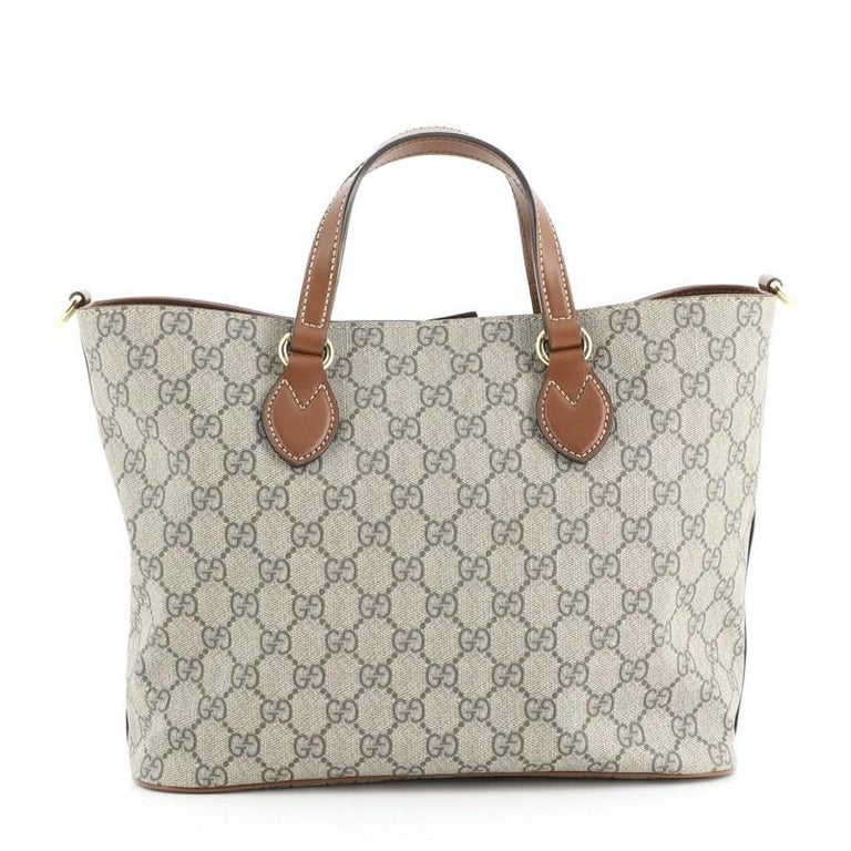 Beige Gucci Convertible Soft Tote GG Coated Canvas Small For Sale